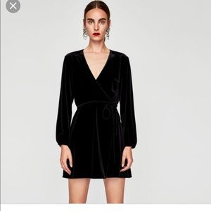 ZARA Woman Black Wrap Tie Velvet Dress